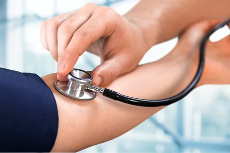 patient in hospital: Blood Pressure Gauge. Stock Photo