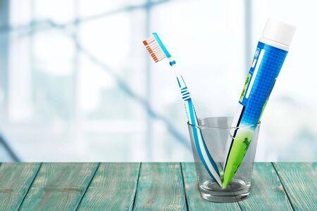 dientes sanos: Cepillo de dientes. Foto de archivo
