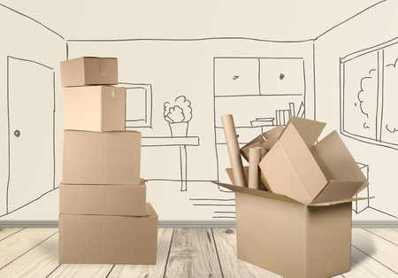 house moving: Box. Stock Photo