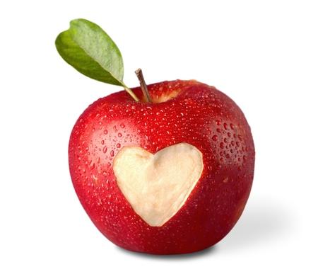 manzana roja: Forma de corazón.