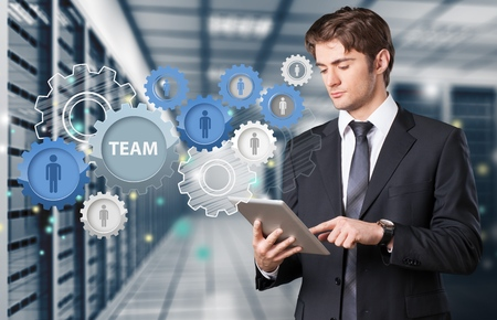 business team: Tablet. Stock Photo