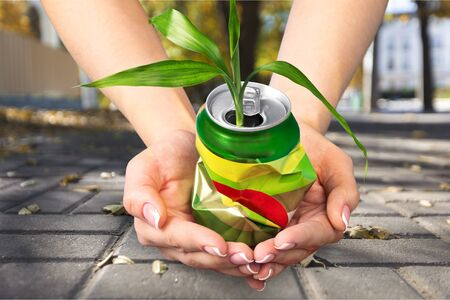 crushed aluminum cans: Recycling. Stock Photo