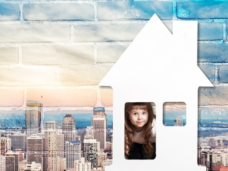game block: child inside a house Stock Photo
