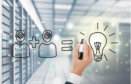 intelligent partnership: Teamwork. Stock Photo