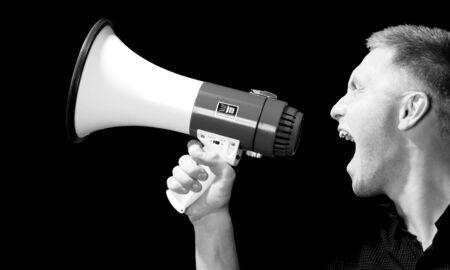 using voice: Megaphone. Stock Photo