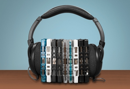 cd case: Headphones and CD Case.