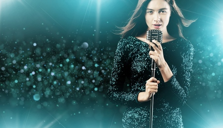 singer with microphone: Singer. Stock Photo