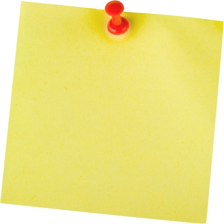 thumbtacked: Adhesive note. Stock Photo