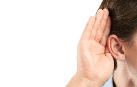 unsatisfied: Listen. Stock Photo