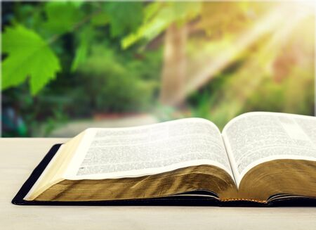 Open book on desk.
