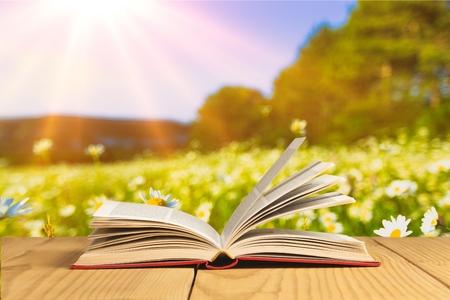 タブレットに開いた本。