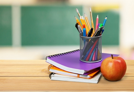 School teachers desk. Stock Photo