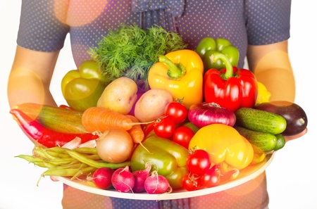 Woman and health food.