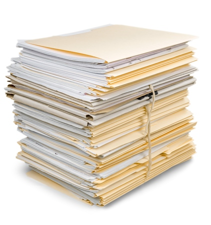 Stapel documenten  bestanden Stockfoto