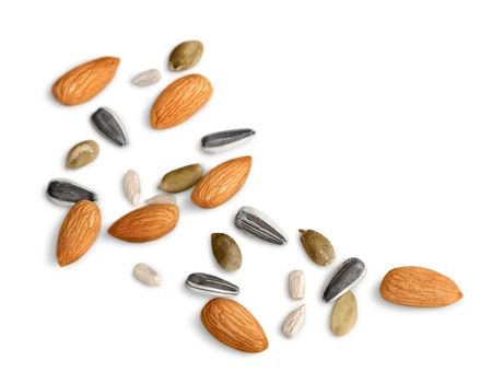 Trail mix isolated on white background.  Overhead view Banco de Imagens