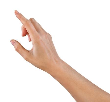 상상의 버튼을 누르면 손가락  포인팅 스톡 콘텐츠