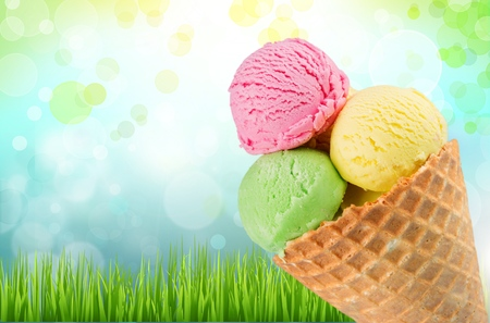 Triple ice cream on cone
