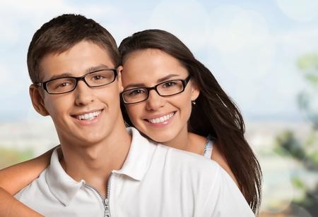 Happy couple smile.