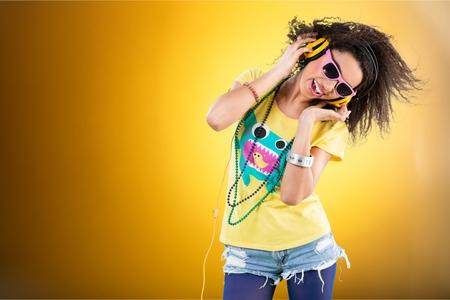 dancing club: Women having fun listening to music