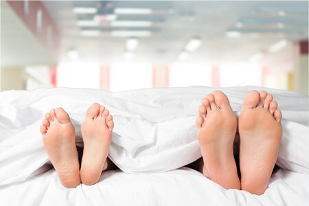 adult sex: Bed. Stock Photo