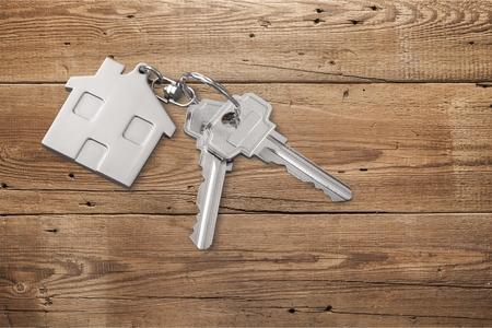 House key on the table. Stok Fotoğraf