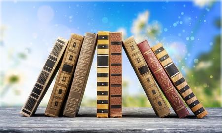 Libros apoyándose el uno al otro. Foto de archivo - 88421908
