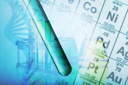 Chemische samenstelling met periodiek systeem Stockfoto