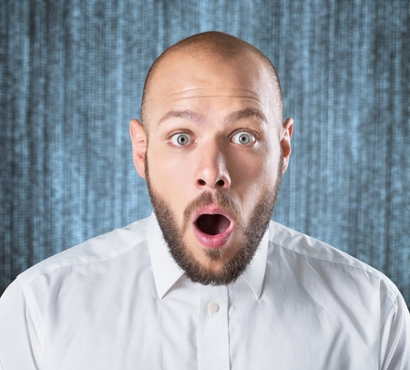Surprised face man. Stock Photo