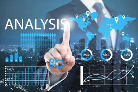 business man writing data analysis