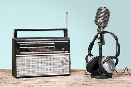 Retro style microphone, radio  and headphones