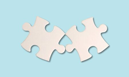 Two silver jigsaw puzzle. Stock Photo