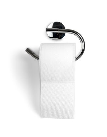 A Roll of Toilet Paper Hanging on a Toilet Paper Holder Stock Photo