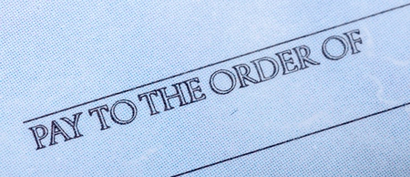 Words Pay to the Order of on a Chek - Close Up
