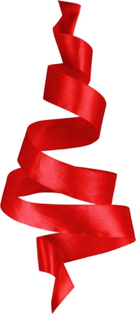 Red Christmas ribbon on white background Stock Photo