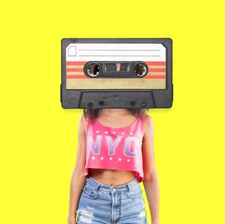 Fashion Retro Cassette Minimal art collage Stock fotó
