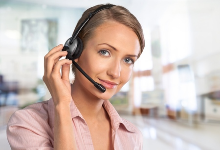 Support phone operator in headset, isolated 스톡 콘텐츠
