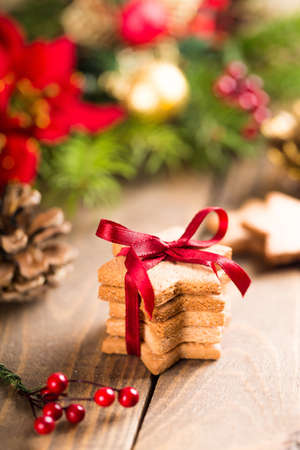 Christmas gingerbread cookies with festive decoration
