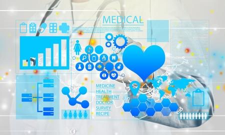 Innovatieve technologieën in de geneeskunde. Gezondheidszorg innovatie informatietechnologie integratie. Arts aangeraakt pictogram INNOVATIEVE TECHNOLOGIEËN tekst op virtueel scherm. Big Data, Cloud, AI, Microchip. Stockfoto