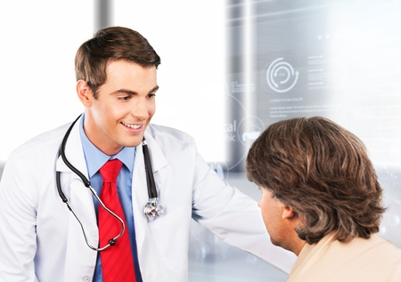 Professional medical doctor in white uniform gown coat interview counseling female patient: Physician writing on patient chart while consultation: Hospital/ clinic healthcare professionalism concept Stockfoto