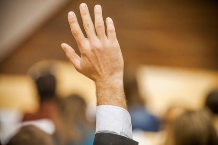 Closeup of a Raised Hand Stock Photo