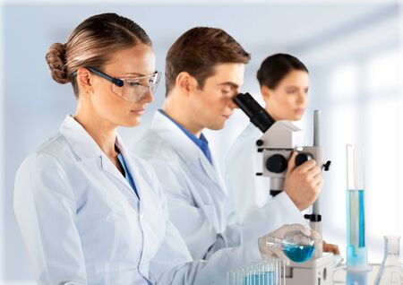 Scientists are working in a chemical lab.