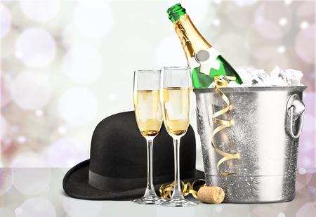 Champagne bottle in bucket isolated on  background Foto de archivo