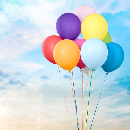 Bunch of colorful balloons on  background Stock Photo