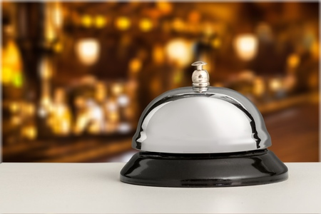 Reception service desk bell, close-up view Stock Photo