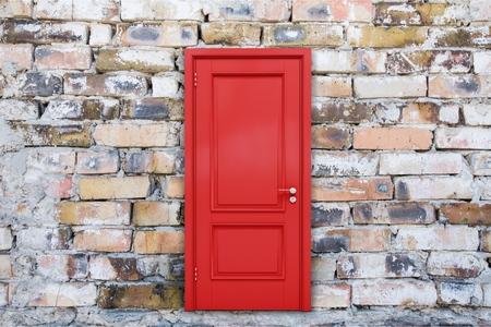 Closed red door Stock Photo