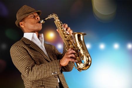 Black american jazz saxophone player. Vintage. Studio shot. Stok Fotoğraf