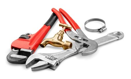 Pile of locksmith tools isolated on white background