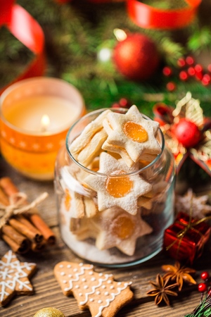 Tasty Christmas cookies  on background