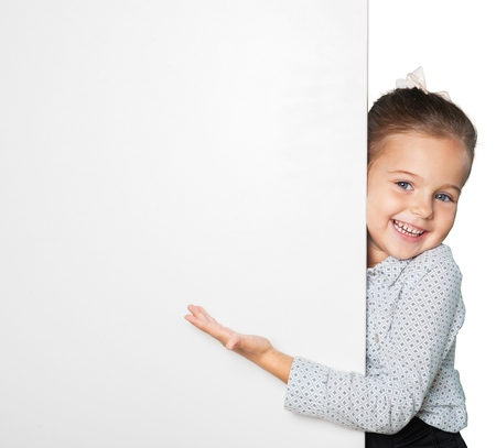 Happy girl with a banner - isolated over a white background