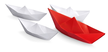 Set of   paper ships,Leadership concept